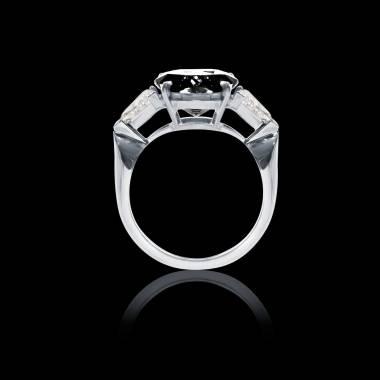 Bague Solitaire diamant noir pavage diamant or blanc Stéphanie