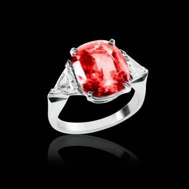 Bague de fiançailles rubis pavage diamant or blanc Stéphanie