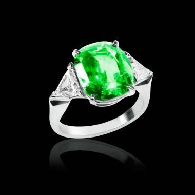 Bague de fiançailles émeraude pavage diamant or blanc Stéphanie