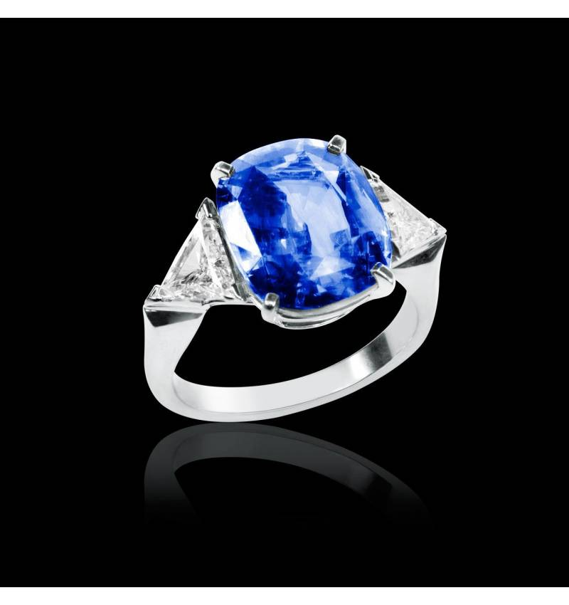 Bague de fiançailles saphir bleu pavage diamant or blanc Stéphanie