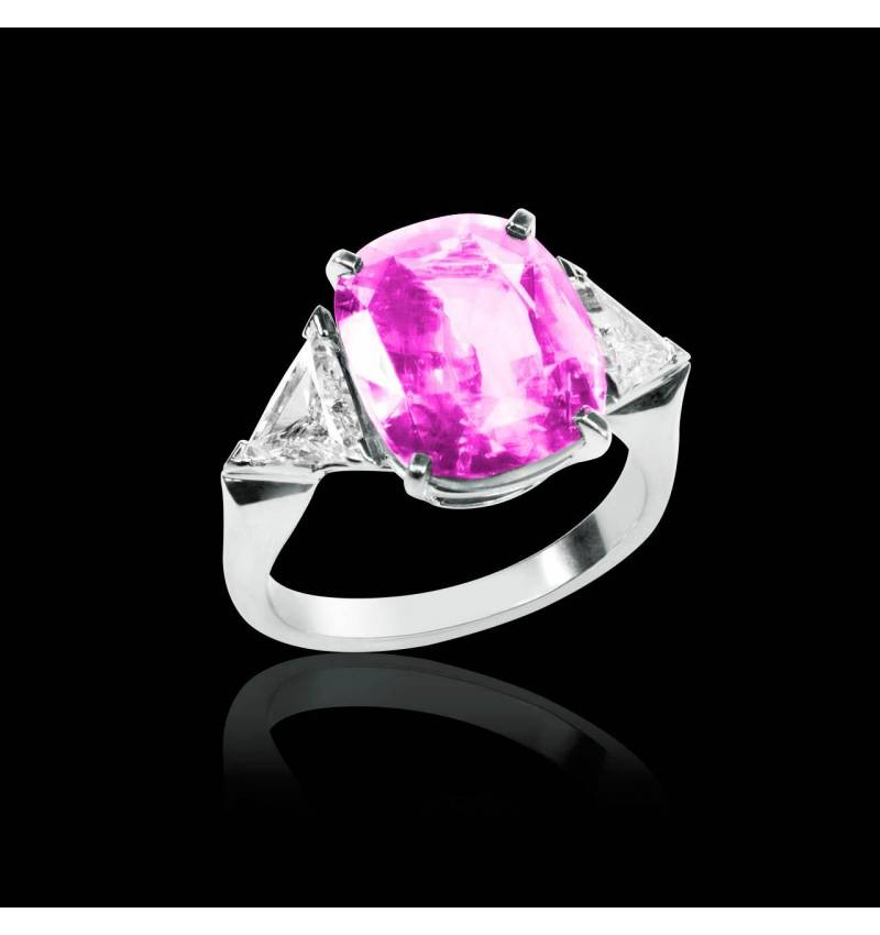 Bague de fiançailles saphir rose pavage diamant or blanc Stéphanie