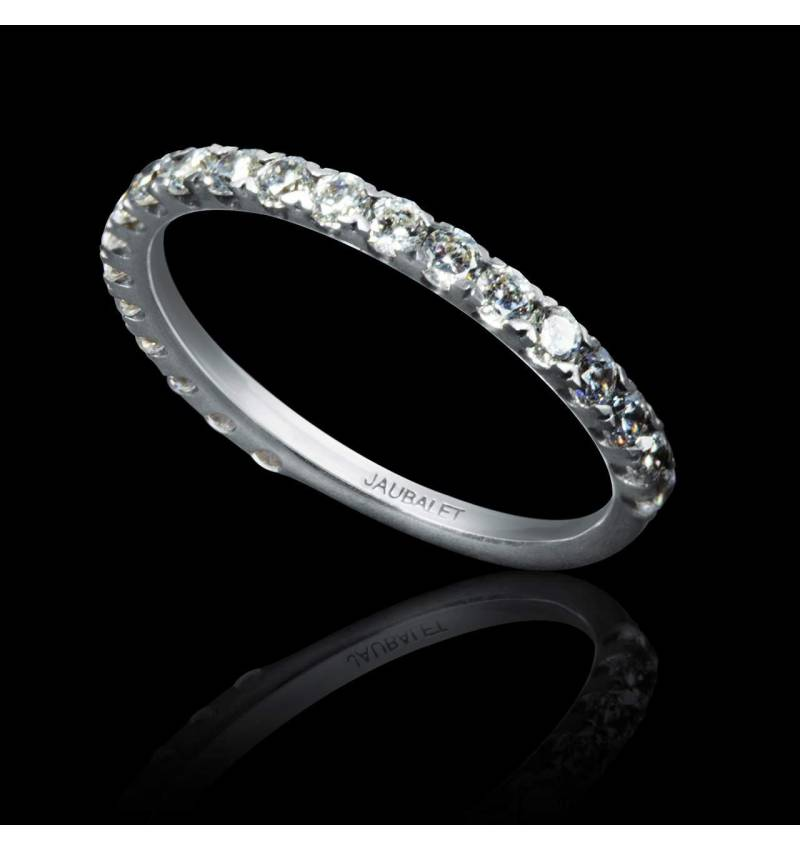 Alliance de mariage pavage diamant 0,5 carat or blanc Emilie