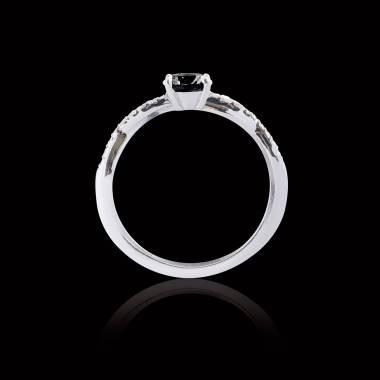 Bague de fiançailles diamant noir pavage diamant or blanc Noémie