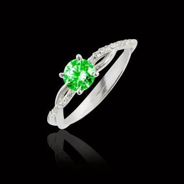 Bague de fiançailles émeraude pavage diamant or blanc Noémie