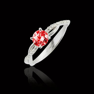 Bague de fiançailles rubis pavage diamant or blanc Noémie