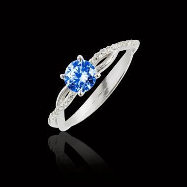 Bague de fiançailles saphir bleu pavage diamant or blanc Noémie