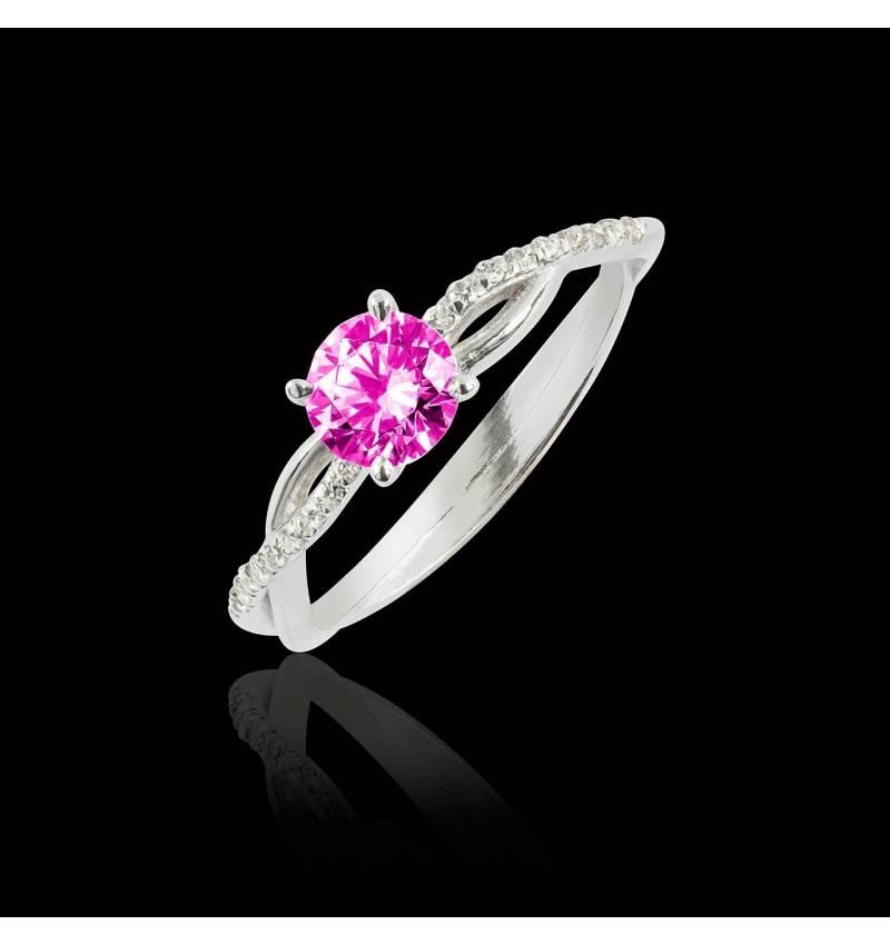 Bague de fiançailles saphir rose pavage diamant or blanc Noémie