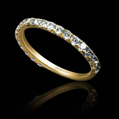 Alliance de mariage pavage diamant 0,6 carat or jaune Emilie