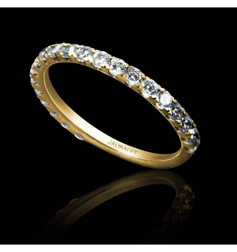 Alliance de mariage pavage diamant 0,6 carat or jaune Emilie