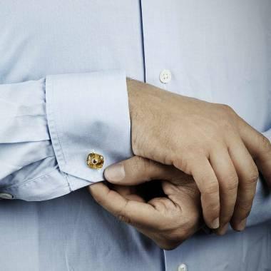 Bouton de manchette citrine et pavage grenat en or rose vermeil 8g Aranea