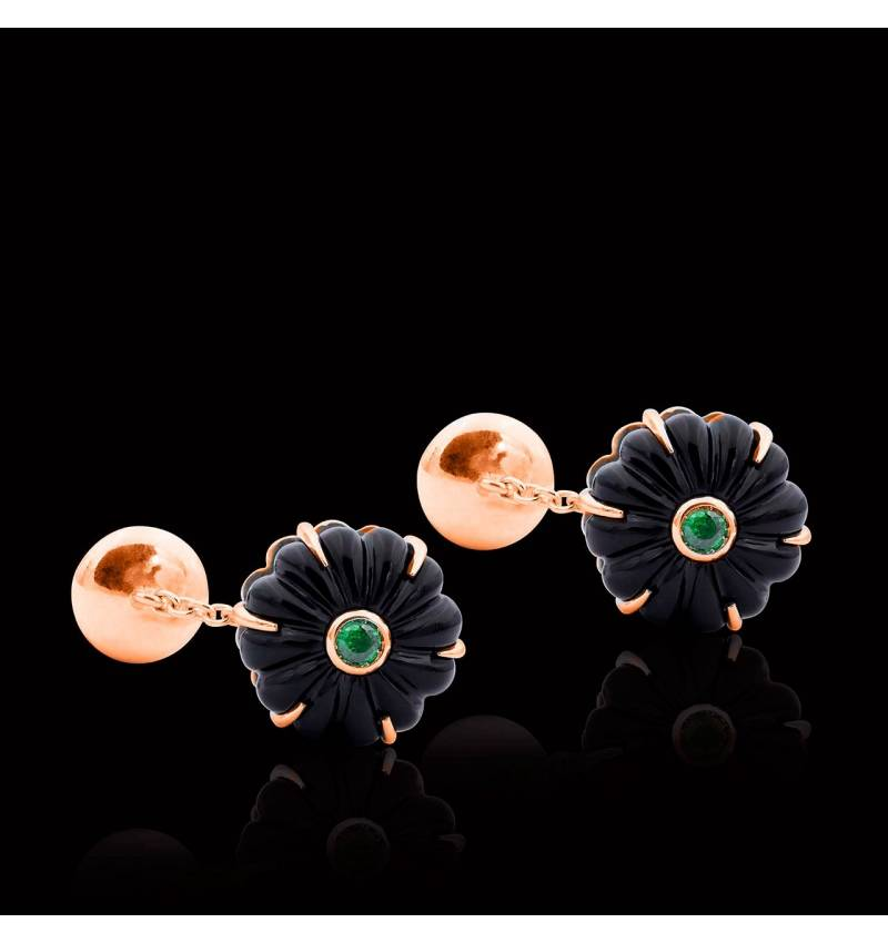 Bouton de manchette onyx et pavage tsavorite en or rose vermeil 10g Bellis