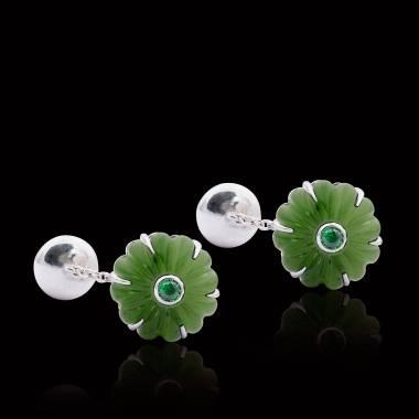 Bouton de manchette jade et pavage tsavorite argent palladié Bellis