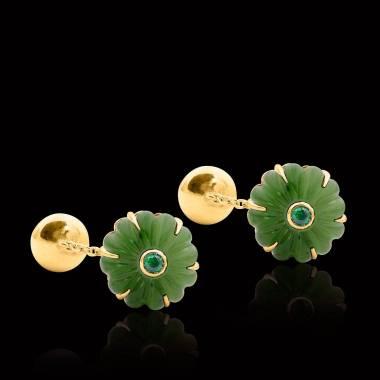 Bouton de manchette jade et pavage tsavorite 0,22 carat or jaune vermeil Bellis