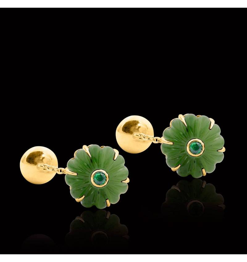 Bouton de manchette jade et pavage tsavorite 0,22 carat argent palladié Bellis
