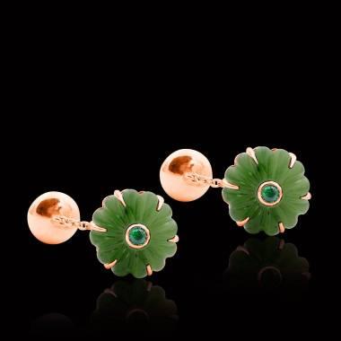 Bouton de manchette jade et pavage tsavorite 0,22 carat en argent palladié Bellis