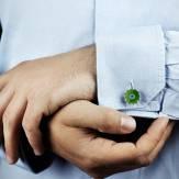 Boutons de manchette jade et pavage tsavorite 0,22 carat en or rose vermeil Bellis