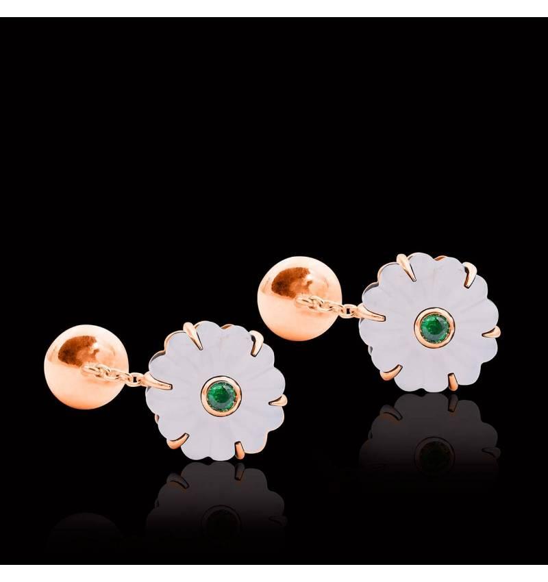 Bouton de manchette cristal de roche et pavage tsavorite 0,22 carat en or rose vermeil Bellis