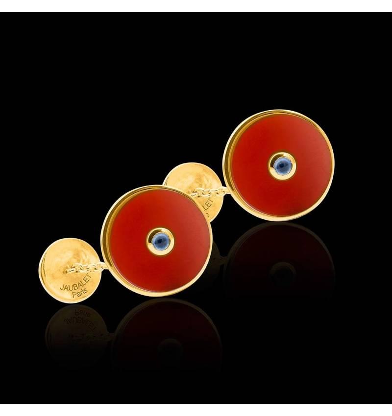 Bouton de manchette cornaline et pavage aigue marine 0,10 carat or jaune vermeil Circus