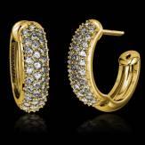 Boucles d'oreilles pavage diamant or jaune Mangrove