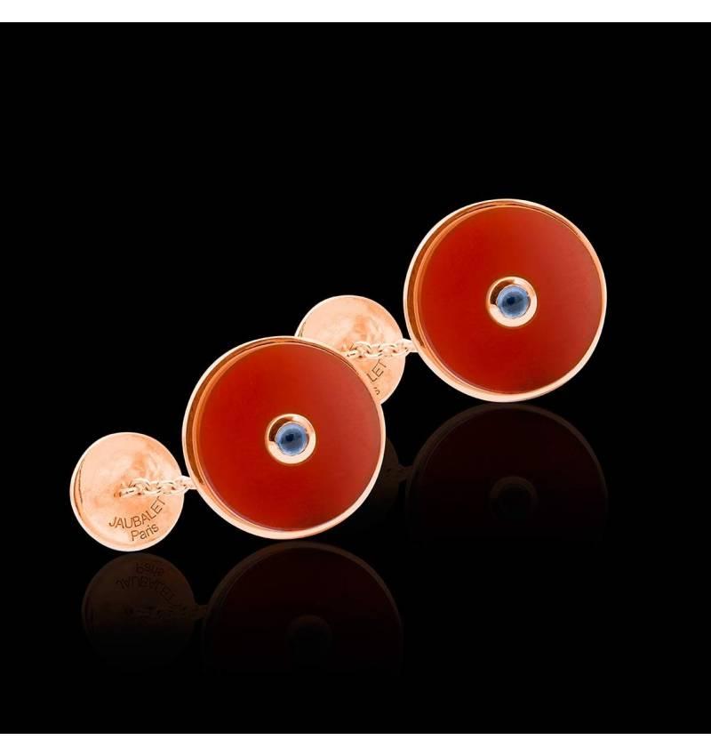 Bouton de manchette cornaline et pavage aigue marine 0,10 carat en or rose vermeil Circus