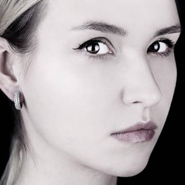 Boucles d'oreilles pavage diamant or blanc Mangrove