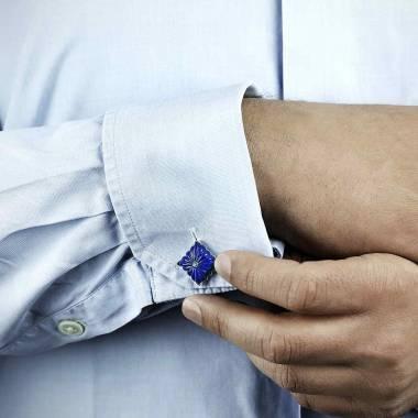 Bouton de manchette lapis lazuli et pavage aigue marine argent palladié Crustulum