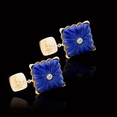 Bouton de manchette lapis lazuli et pavage aigue marine 0,10 carat argent palladié Crustulum