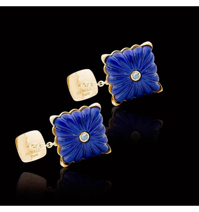Bouton de manchette lapis lazuli et pavage aigue marine 0,10 carat or jaune vermeil Crustulum