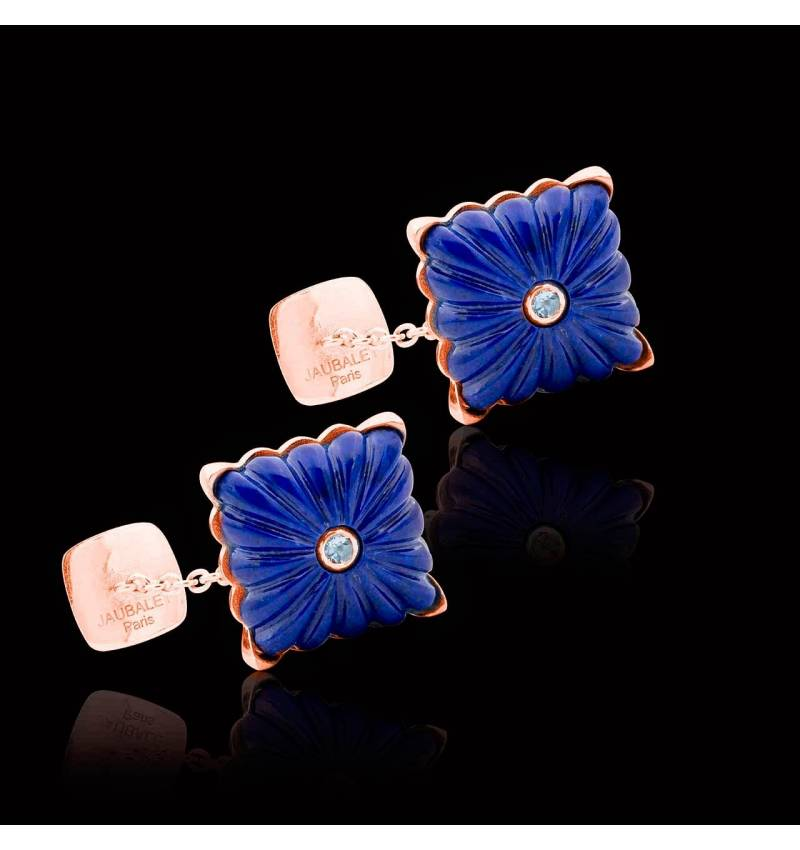 Bouton de manchette lapis lazuli et pavage aigue marine 0,10 carat en argent palladié Crustulum