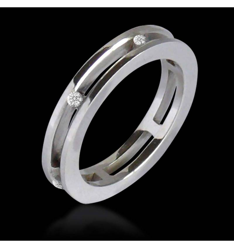 Alliance de mariage pavage diamant 0,7 carat platine Liliana