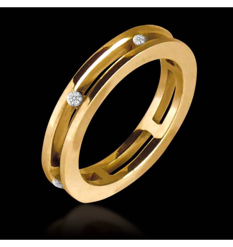 Alliance de mariage pavage diamant 0,6 carat or jaune Liliana