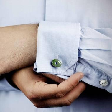 Bouton de manchette jade et pavage améthyste 0,16 carat argent palladié Orbis