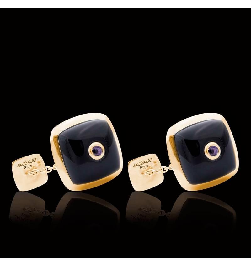 Bouton de manchette onyx et pavage améthyste 0,16 carat or jaune vermeil Quadrum