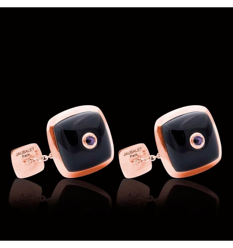 Bouton de manchette onyx et pavage améthyste 0,16 carat en or rose vermeil Quadrum