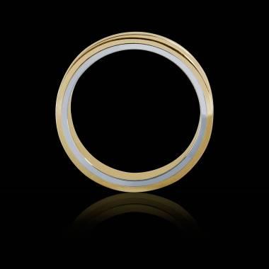 Alliance de mariage homme bicolore en or jaune et filet or blanc 8 g Alexandre