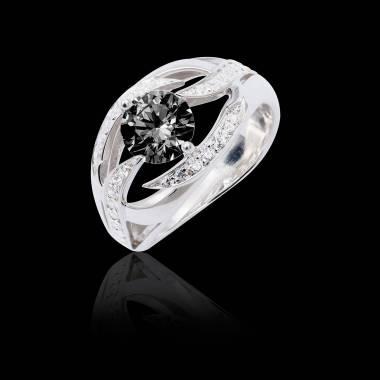 Bague de fiançailles diamant noir pavage diamant or blanc Ophélie