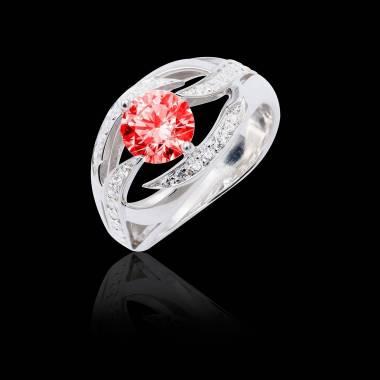 Bague de fiançailles rubis pavage diamant or blanc Ophélie