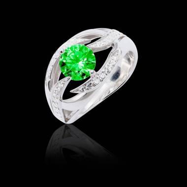 Bague de fiançailles émeraude pavage diamant or blanc Ophélie