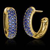 Boucles d'oreilles pavage saphir bleu or jaune 18 K Mangrove