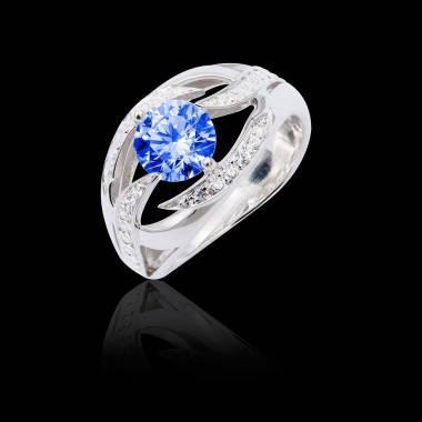 Bague de fiançailles saphir bleu pavage diamant or blanc Ophélie