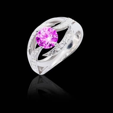 Bague de fiançailles saphir rose pavage diamant or blanc Ophélie