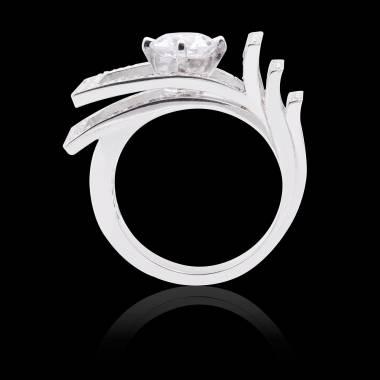 Solitaire diamant pavage diamant or blanc Romanesque
