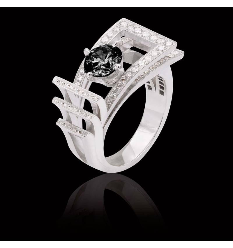 Bague de fiançailles diamant noir pavage diamant or blanc Romanesque