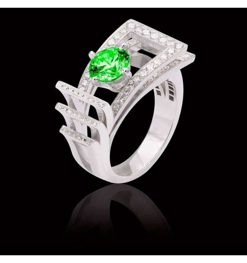 Bague de fiançailles émeraude pavage diamant or blanc Romanesque