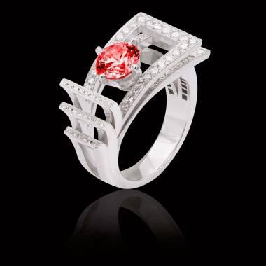 Bague de fiançailles rubis pavage diamant or blanc Romanesque