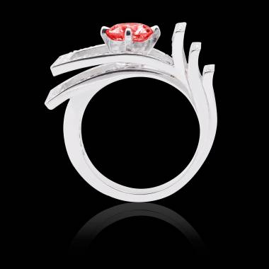 Solitaire rubis pavage diamant or blanc Romanesque