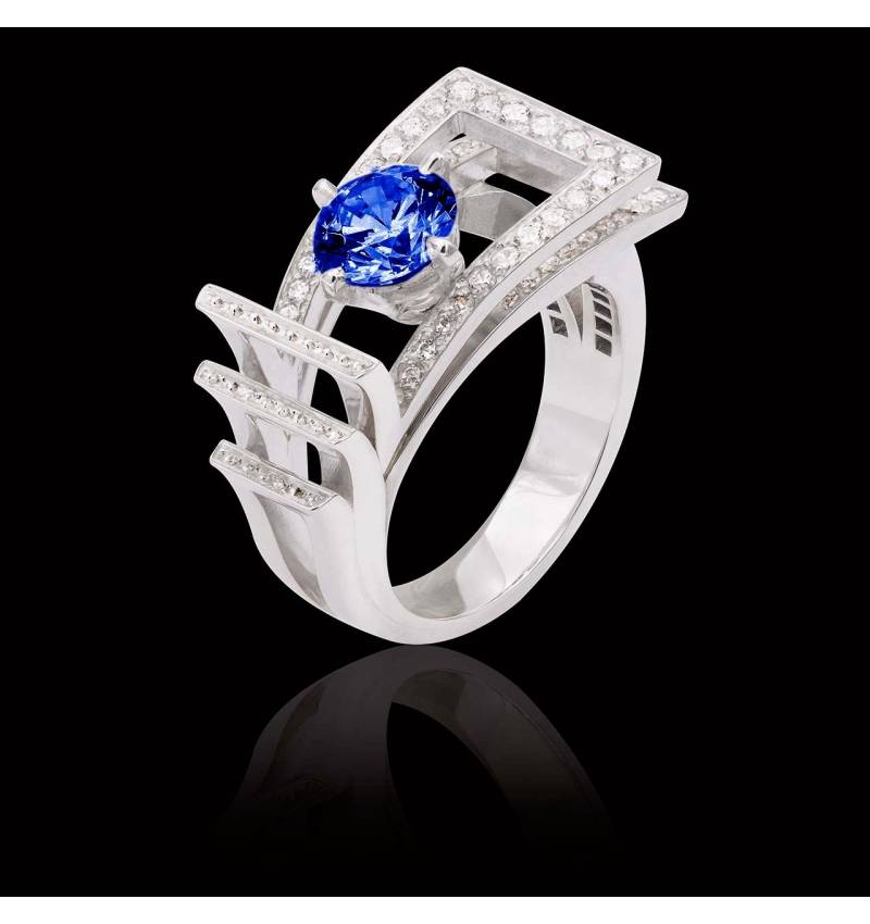 Bague de fiançailles saphir bleu pavage diamant or blanc Romanesque