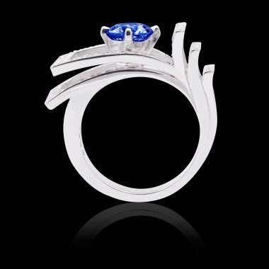 Solitaire saphir bleu pavage diamant or blanc Romanesque
