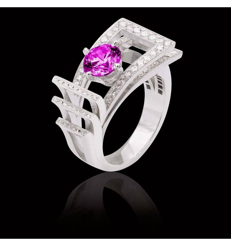 Bague de fiançailles saphir rose pavage diamant or blanc Romanesque