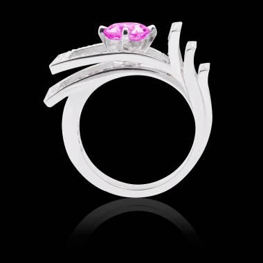 Solitaire saphir rose pavage diamant or blanc Romanesque